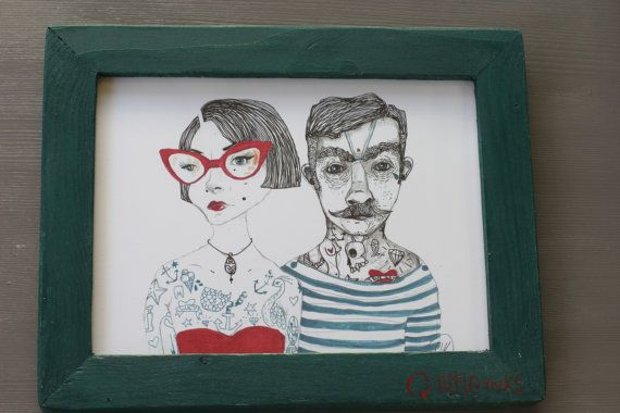 Vintage tattooed couple illustration framed print by littlerocksPK http://littlerocksdesigns.com