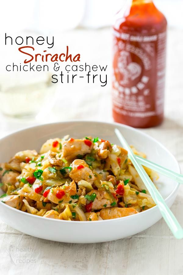 Honey Sriracha Chicken and Cashew Stir-fry recipe!  I love stir fry & Sriracha so this is one I MUST try!
