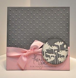 love the pink and grey combo: J Day Design, Colors Combos, Pink Combos, Cards Ideas, Grey Pink, Upsi Daisies, Stampin Up, Thanks You Cards, Pink And Gray