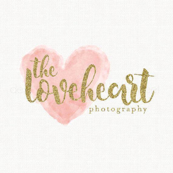 watercolor heart logo gold glitter logo photography logo premade logo event planner logo wedding logo design bespoke logo watercolour logo