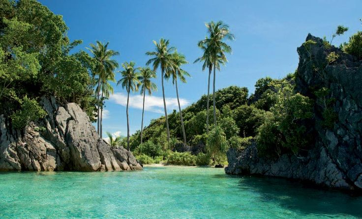 One of many beautiful beaches in the Wayag Islands, Indonesia