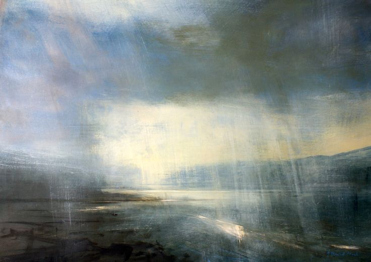 "Zarina Stewart-Clark, 'Evening Rain, Jura', (Oil on panel, 30"" x 40"") http://www.panterandhall.com/Scottish-Show-2014-Gallery.aspx"