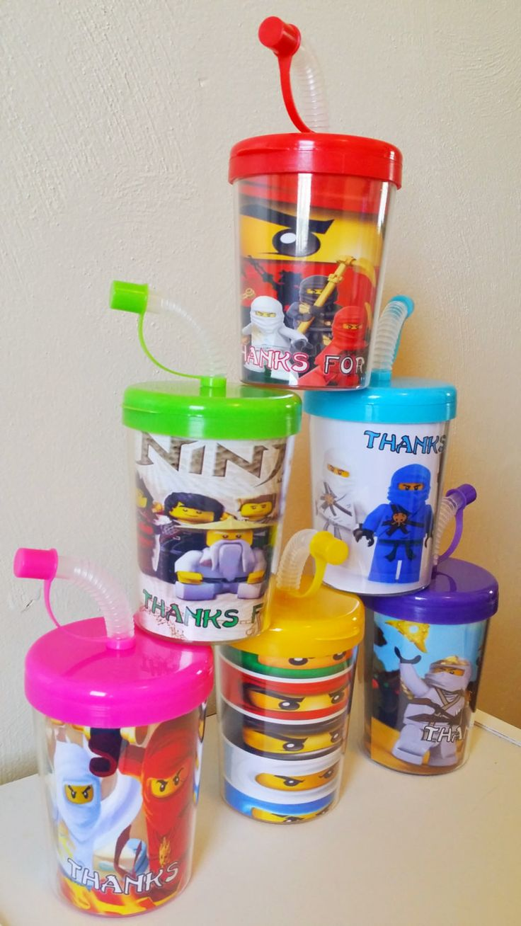 Ninjago Personalized Party Favor Cups, Ninjago Birthday Party Treat Cups Set of 6, Ninjago Party Favors, BPA Free
