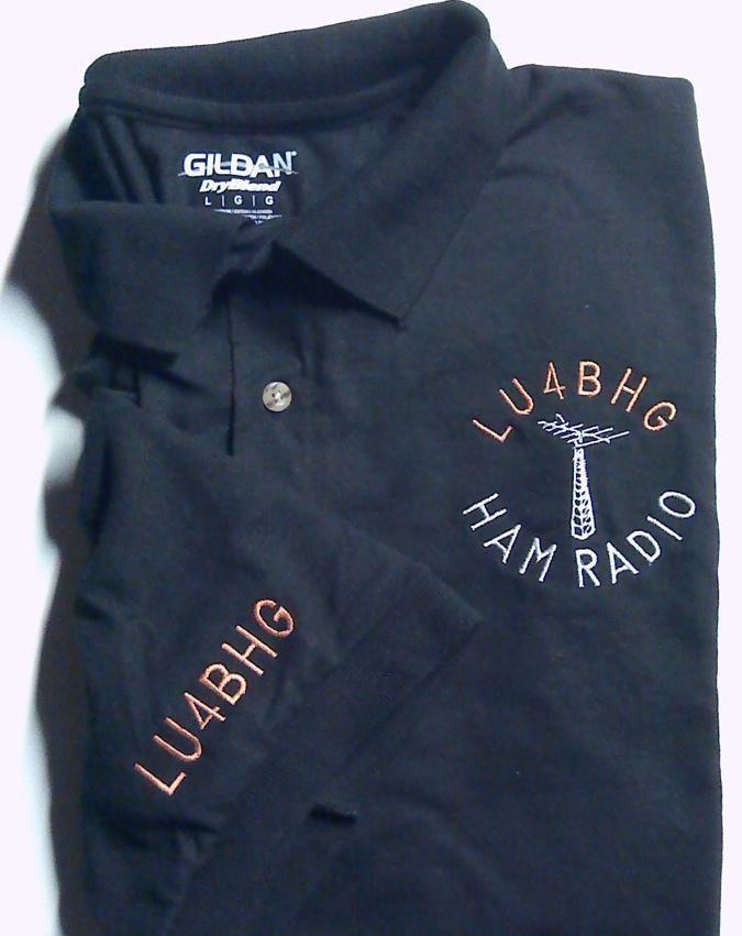 Ham Radio POLO - TEE Shirt  Embroidered Antenna + CALL  plus CALL on SLEEVE !