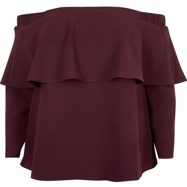 River Island Plus burgundy deep frill bardot top ($19) ❤ liked on Polyvore featuring plus size women's fashion, plus size clothing, plus size tops, bardot / cold shoulder tops, red, tops, women, long sleeve tops, red long sleeve top and womens plus tops