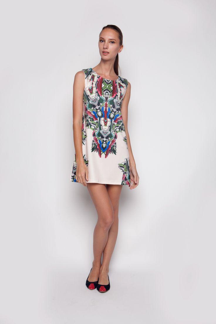Abstrak Dress Off White