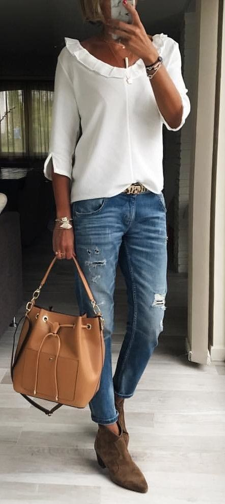 #fall #outfits women's white quarter-sleeve blouse and blue denim jeans