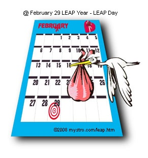 @ February 29th LEAP Year - LEAP Day   February 29 LEAP Year - LEAP Day offers up facts and stats for those of us lucky ... Welcome Home LEAPERS! page down for more info!