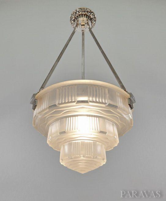 Verreries des Hanots : French 1930 art deco chandelier.