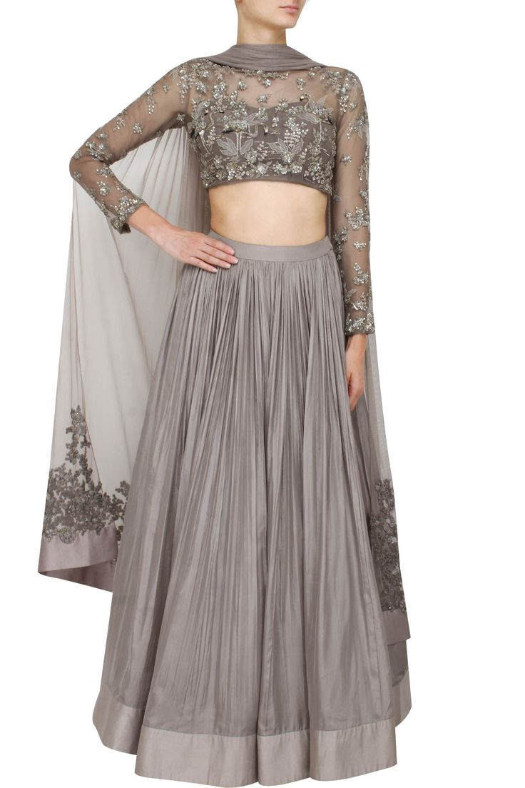 Grey lehenga set with embellished blouse