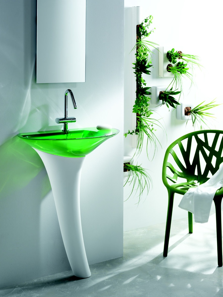 #green decor, green bathroom, green #sink. That simple.