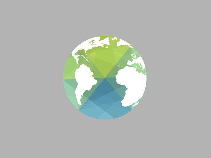 Représentation abstraite et moderne de style flat design du Globe terrestre.