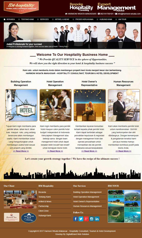 HM Hospitality - Harmoni Wisata Makassar. Web jasa konsultan bisnis perhotelan & hospitality. Desain unik & berkelas menjadikan bisnis jasa tampil lebih profesional.