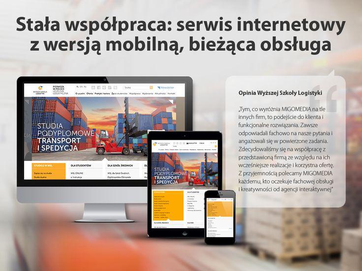 Wyższa Szkoła Logistyki. Stała współpraca: #serwisinternetowy z wersją mobilną, bieżąca obsługa.