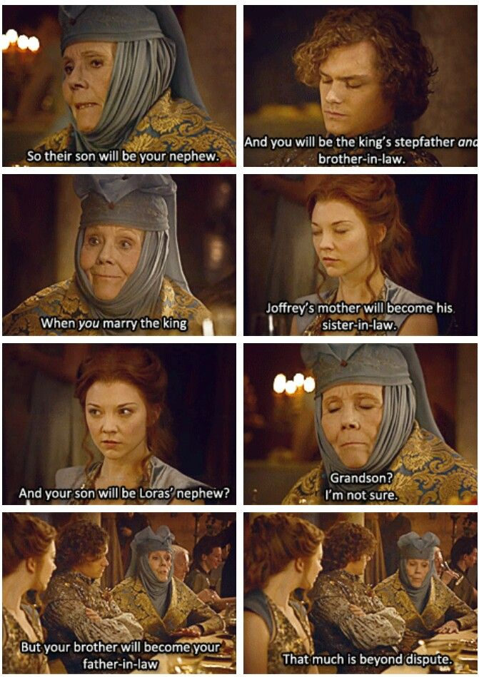 Game of Thrones - the confusing marriages of Sansa Stark/Tyrion Lannister and Margaery Tyrell/Joffrey Baratheon and Cersei Baratheon/Loras Tyrell :P ahhhh, hilariously awkward!!!!:D