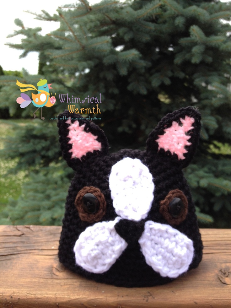 Boston Terrier Hat Pattern https://www.facebook.com/WhimsicalWarmth