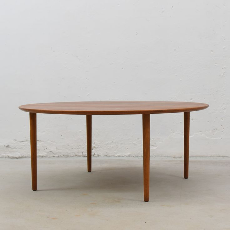 For sale round teak oak coffee table with brass inlay