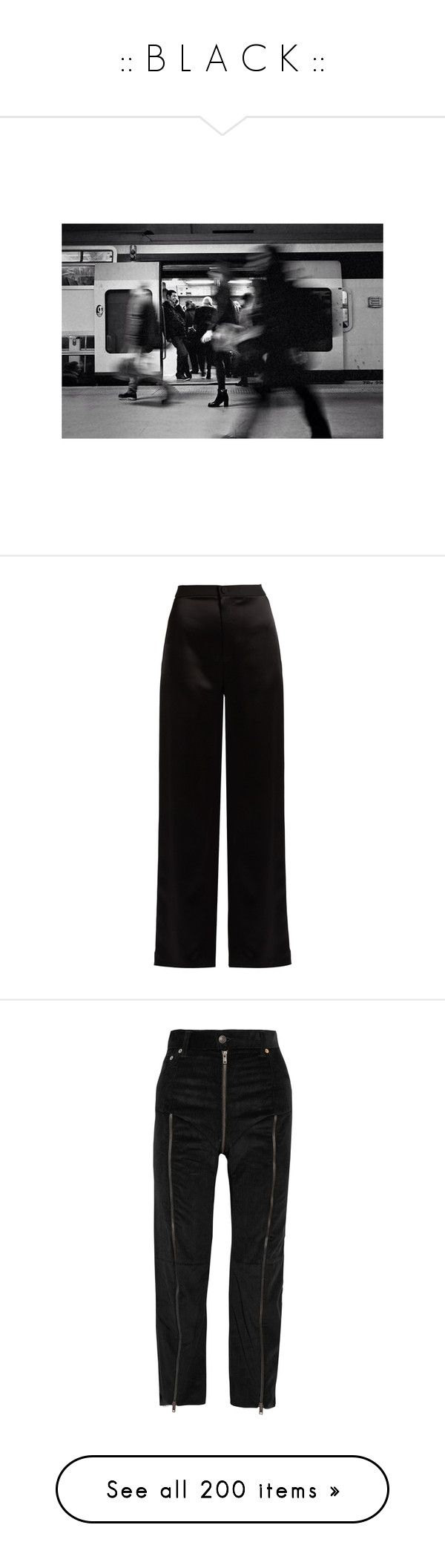 """"""":: B L A C K ::"""" by maria-figueiredo ❤ liked on Polyvore featuring tops, get lost, pants, lanvin, trousers, bukser, black, high waisted trousers, satin trousers and highwaist pants"""