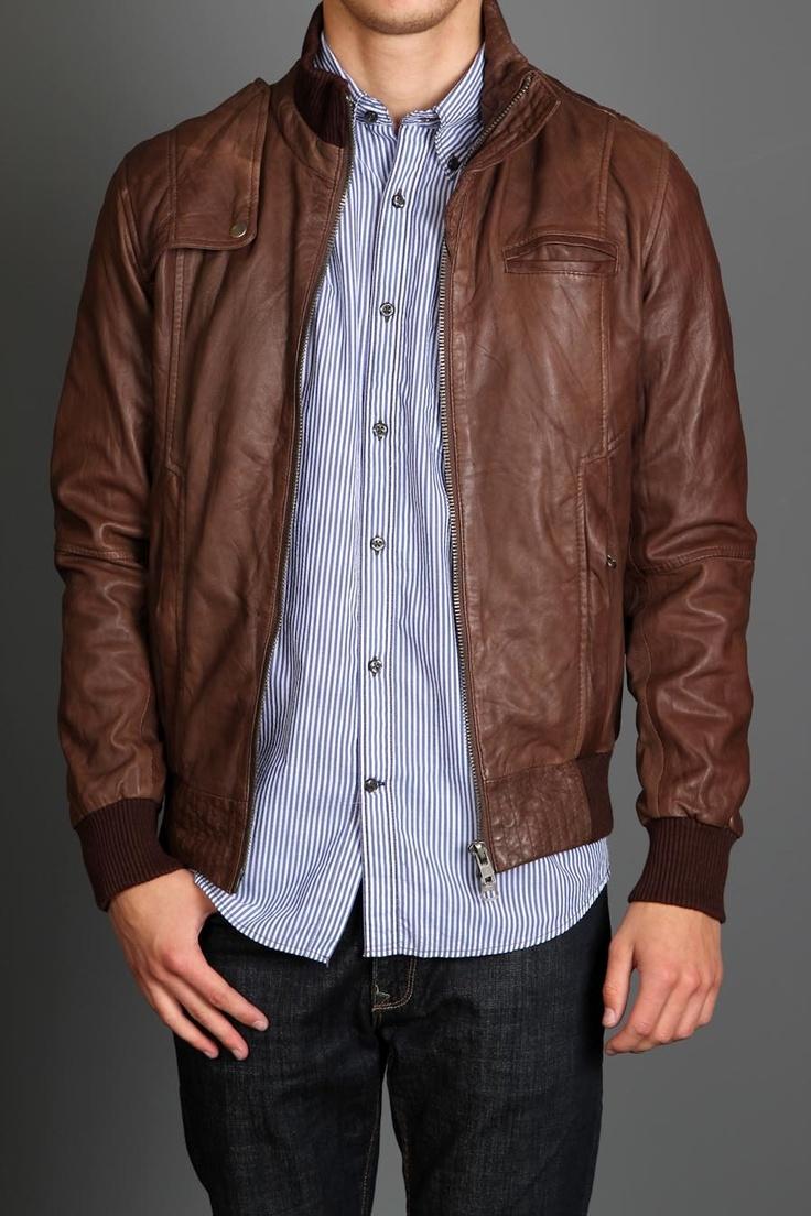 Brown Leather Bomber Jacket Mens jackets, Leather jacket