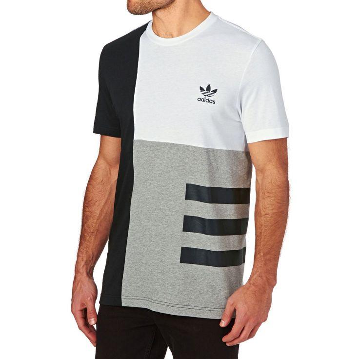 Men's Adidas Originals T-shirts - Adidas Originals Graphic 3 Stripe T-Shirt  - White/black