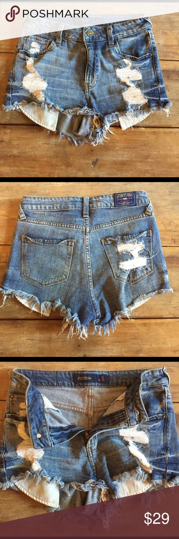 JUST USA -- high waisted denim shorts Size small (25-26). Distressed high waisted denim shorts. 10/10 condition. Purchased from Apricot Lane Boutique Levi's Shorts Jean Shorts