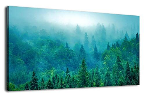 Artewoods Green Forest Wall Art For Living Room Decoration Large Nature Picture Canvas Artwork Mountain Land In 2020 Forest Wall Art Nature Pictures Mountain Landscape