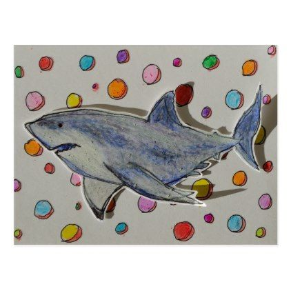 Happy Shark Swimming in a Sea of Dots Postcard - postcard post card postcards unique diy cyo customize personalize