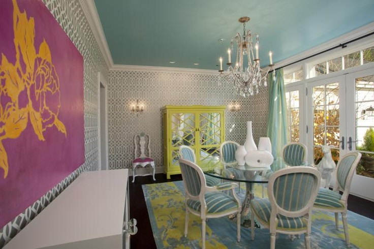 Sherwin WilliamsSpa 6765: Dining Rooms, Paintings Ceilings, Jacobson Interiors, Paintings Colors, Interiors Design, Hot Pink, Schumacher Wallpapers, Rooms Colors, Jonathan Adler