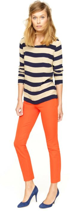 : Outfits, Colors Combos, Style, Clothing, J Crew, Orange Pants, Jcrew, Stripes, Bright Pants