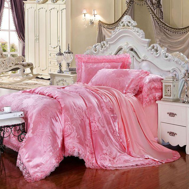 Außergewöhnlich Rosa Rose Bettwäsche Sets 6 Stück Königin King Size Bettbezug Set Seide  Baumwollmischgewebe Luxus Bettwäsche