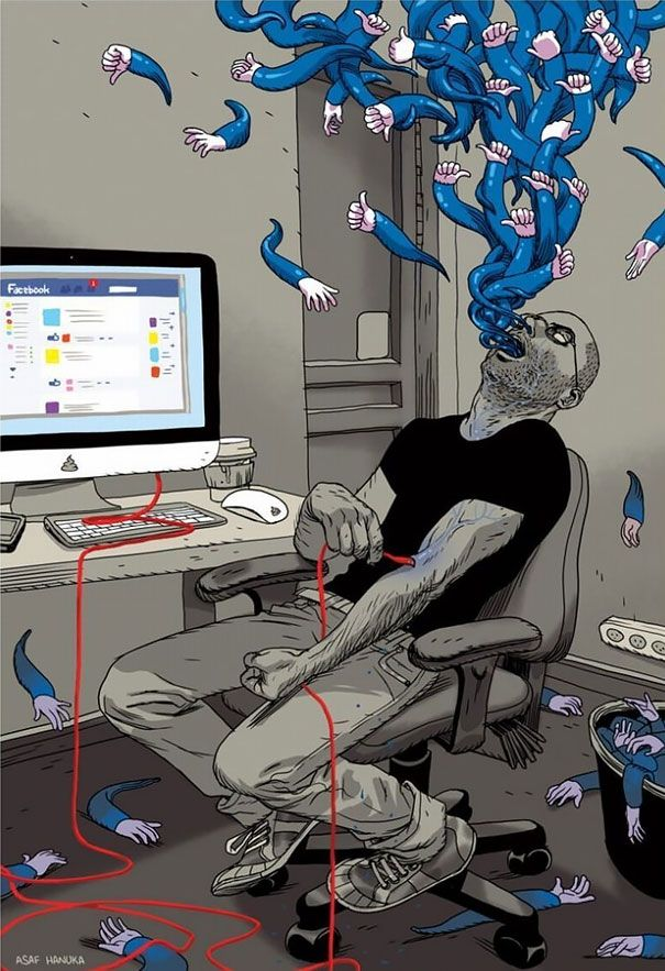 65 Satirical Illustrations Show Our Addiction To Technology