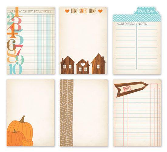 Autumn project life journal printables, houses, pumpkins, brown, blue & orange