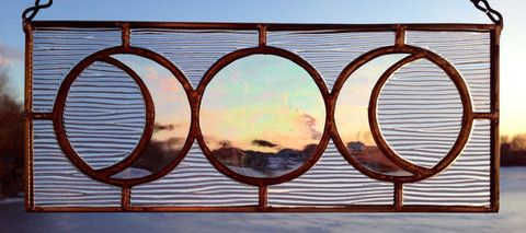 """Triple Goddess Stained Glass Mini Panel, in clear glass & textured glass. Handmade by the """"Sweveneers"""" Shop @ eartisans.net."""