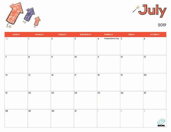 image relating to Free Printable July Calendar called 2019 Totally free Printable Calendar for Little ones 2019 Small children calendar