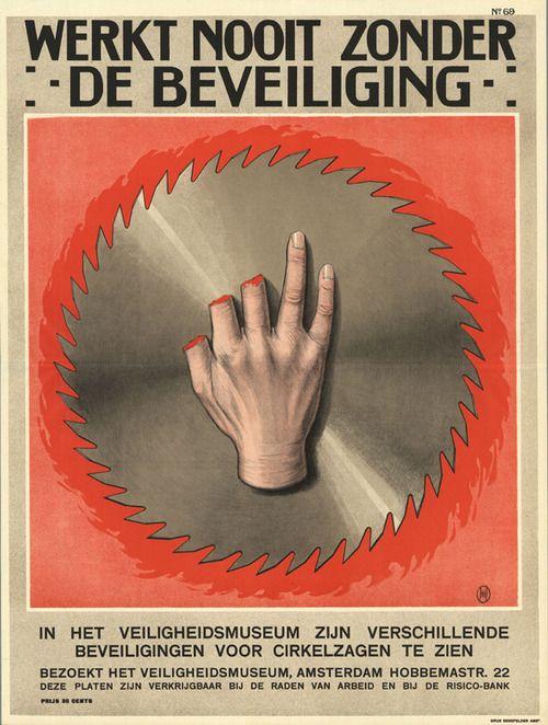 Dutch Safety Poster, 1928, by Herman Heyenbrock (via Hoogspanning!: More Dutch…