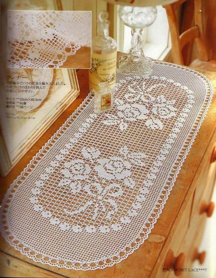 PATRONES GRATIS DE CROCHET: Patrón tapete, camino de mesa con flores a crochet