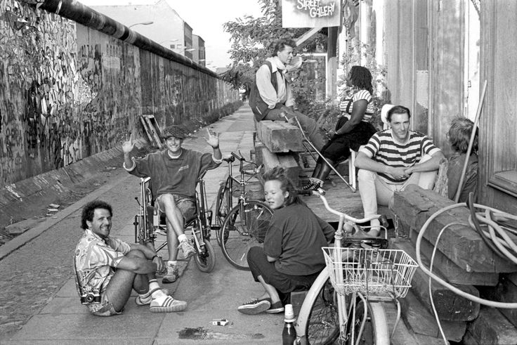 West Berlin 1988: The Wall provided a 'Bohemian' back-street which stretched right across the city. Update: I visited this place today, and I was told that the guy at the top of the picture is Peter Unsicker, who is still at the wall-streetgallery....