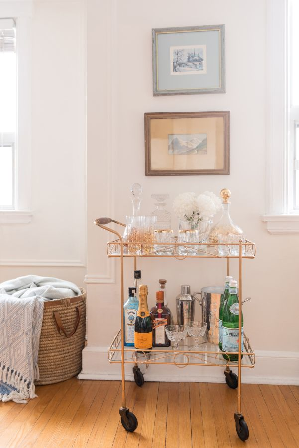 Brass bar cart: http://www.stylemepretty.com/living/2016/12/15/a-chic-and-girly-bachelorette-pad-with-trad-bones/ Photography:  5ive 15ifteen - http://5ive15ifteen.com/