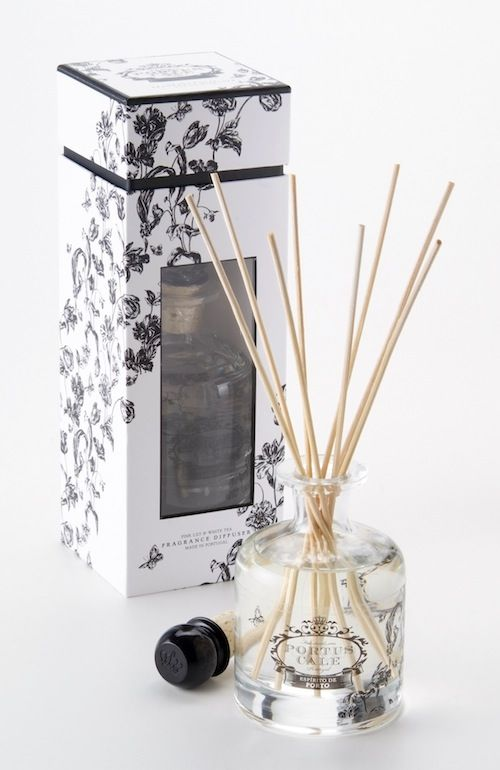Portus Cale Floral Toile Diffuser - Hand blown glass Made in Portugal  Distributed in Australia by Supertex