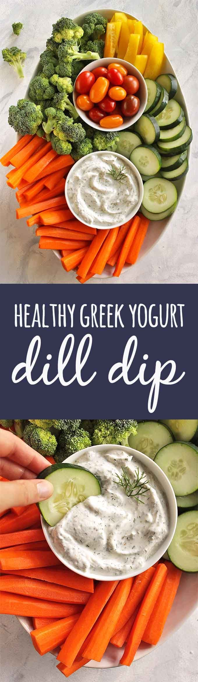 Healthy Greek Yogurt Dill Dip - Easy and tasty dill dip recipe that has simple, clean ingredients. Perfect for veggie platters & packed lunches. Only requires 5 minutes to make + 7 simple ingredients. Fat free, packed with protein and probiotics. One of o