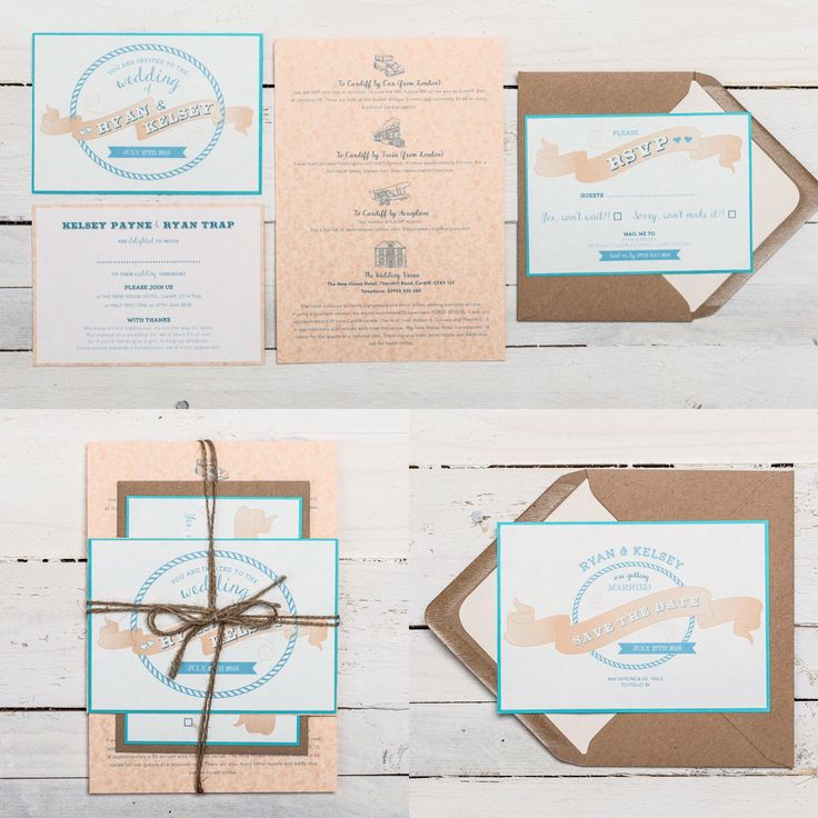 VINTAGE BANNER Wedding Stationery Collection. Available in ANY COLOUR! With its nautical inspired design elements and combinations of banners, fun fonts, quirky illustrations and swirled shapes, 'Vintage Banner' makes a charming set of stationery for any alternative wedding. It has a playful layout with informal wording and a laid back feel. If you have any questions or to find out about the available products in this collection and their prices, please visit the website.