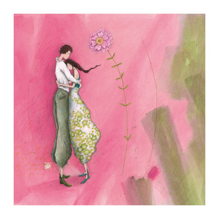"Gaëlle Boissonnard square card (14 cm) ""Couple"""