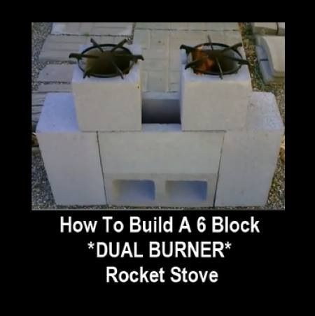 How To Build A 6 Block Dual Burner Rocket Stove http://homestead-and-survival.com/how-to-build-a-6-block-dual-burner-rocket-stove/