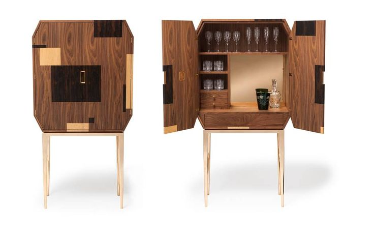 Manhattan drinks cabinet in American black walnut, zirocote and oak on cast bronze legs, 1750cm x 900cm x 400cm, £14,820 (+£700 for gloss finishes), Amy Somerville