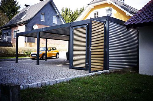 die besten 25 carport metall ideen auf pinterest carport aus metall sichtschutz metall und. Black Bedroom Furniture Sets. Home Design Ideas