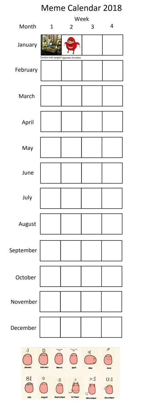 Meme calendar 2018