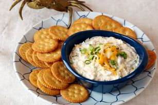 Maryland Crab Dip recipe will be served while the grill is blazing and games are being played. #kraftrecipes
