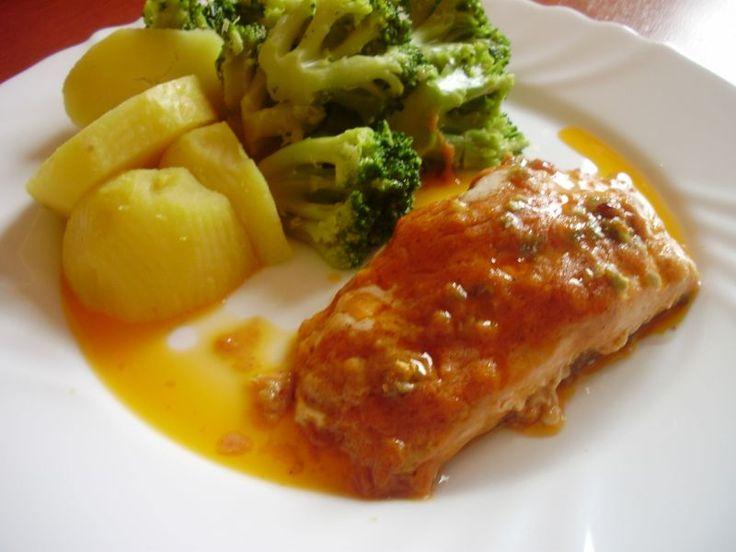 Marinovaný pečený losos, recept s názvom - Marinovaný pečený losos. Recept je zaradený do kategórie Ryby, Mäsité jedlá a ryby