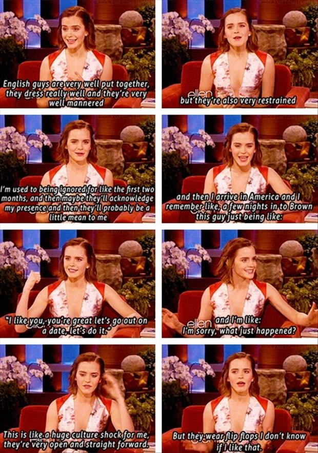 """Emma Watson on Ellen, English vs. American guys :) """"but they wear flip flops, I don't know if I like that."""""""