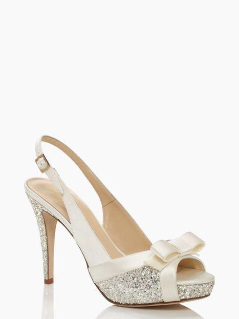 Kate Spade Shoes Bow Sparkle Heels Ivory Slingbacks With P Toes So
